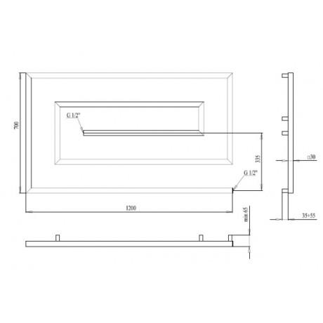 Водяной полотенцесушитель Paladii Грацио- скоба 700х1200х5 30х30 КВ125
