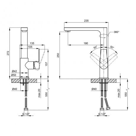 Смеситель для кухни Qtap Stenava 10M45102C
