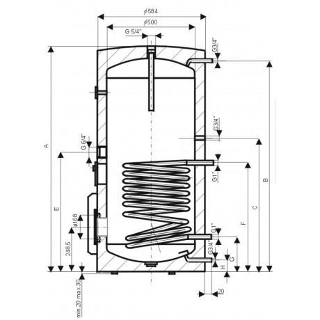 Водонагреватель косвенного нагрева Drazice OKC 250 NTR/BP