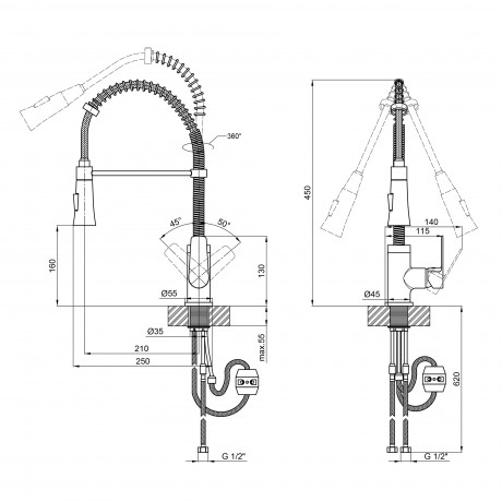 Смеситель для кухни с рефлекторным изливом Qtap Tenso CRM 013F