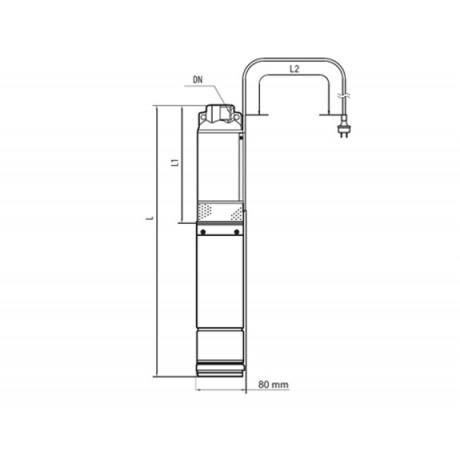 Скважинный насос Насосы+Оборудование 75 SWS 1.2-75-0.55 + кабель 50 м 9159