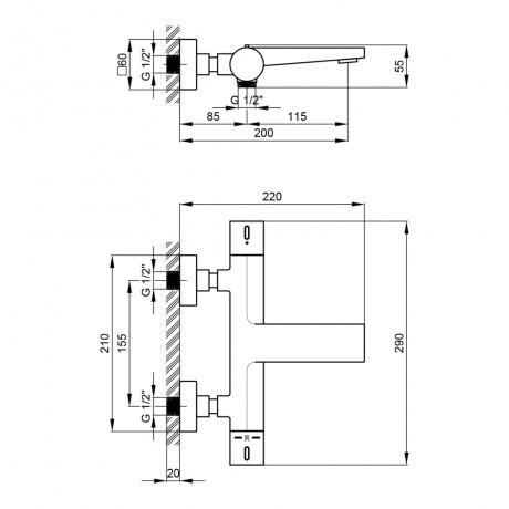 Смеситель термостатический для ванны Qtap Votice 30T105GC
