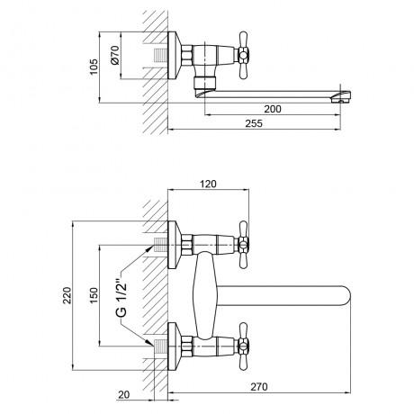 Смеситель для кухни Lidz (CRM) Dominox 15 361