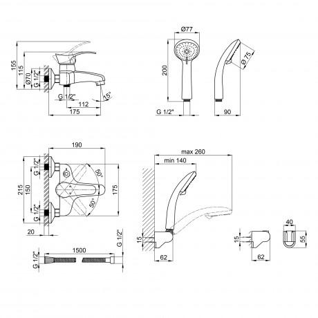 Смеситель для ванны Qtap Eris СRM 006 New