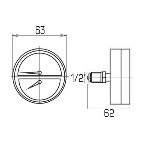 "Термоманометр Icma 1/2"" 0-6 бар, заднее подключение №259"