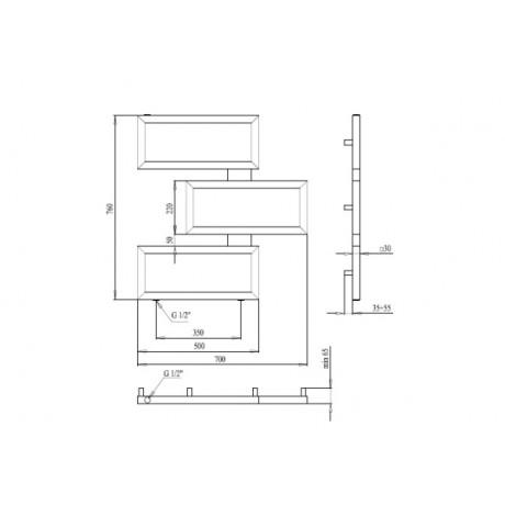 Водяной полотенцесушитель Paladii Етерно 760х700х3 1м 1/2 КВ136