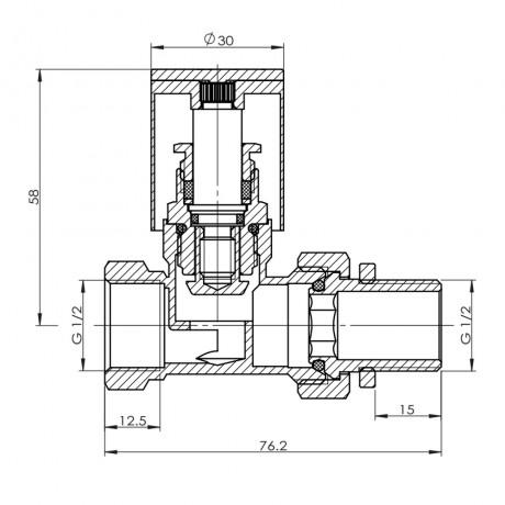 "Кран радиаторный SD Forte 1/2"" прямой хром"