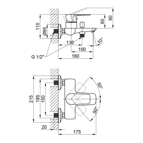 Смеситель для ванны Qtap Planice 3015107DC