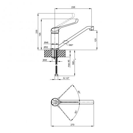 Смеситель для кухни Qtap Lek 1541H107KC