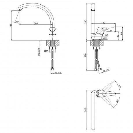 Смеситель для кухни Lidz (CRM) 14 34 008F-3