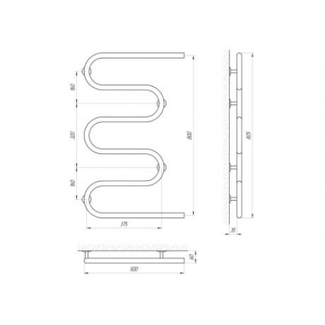 Водяной полотенцесушитель Laris Змеевик 25 РС5 500 х 800