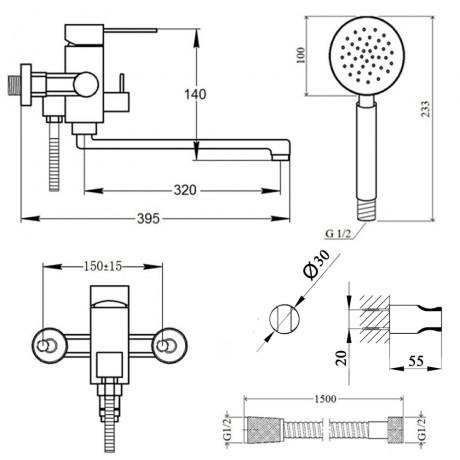 Смеситель для ванны Lidz (NKS) 12 32 005-1