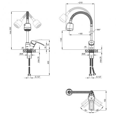 Смеситель для кухни с рефлекторним изливом Lidz (CRM) 44 80 008F-4