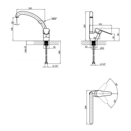 Смеситель для кухни Lidz (BLA) 14 43 008F-3
