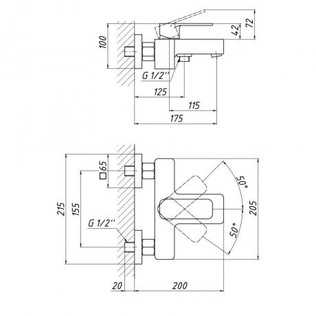 Смеситель для ванны Qtap Namesti 3025102DC