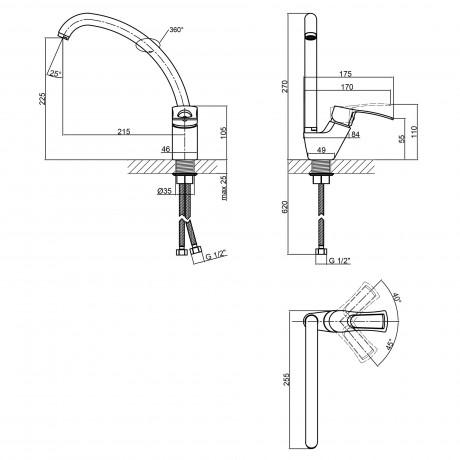 Смеситель для кухни Qtap Hansberg CRM 008F