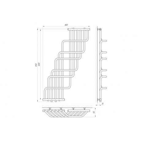 Водяной полотенцесушитель Laris Ниагара П 370 х 1200