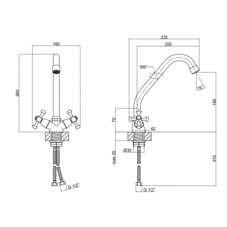 Смеситель для кухни Lidz (CRM) 75 21 272F-1
