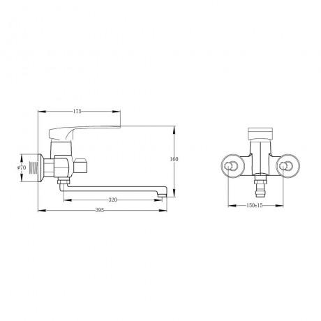 Смеситель для ванны Qtap Hansberg CRM 005 New