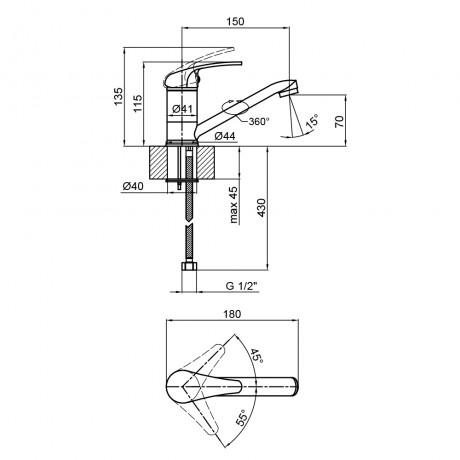 Смеситель для кухни Lidz (CRM) Smart 39 002M