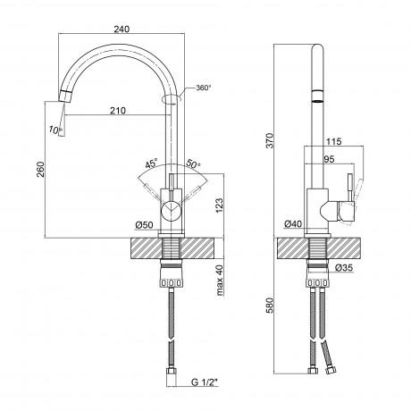 Смеситель для кухни Qtap D007FBL PVD