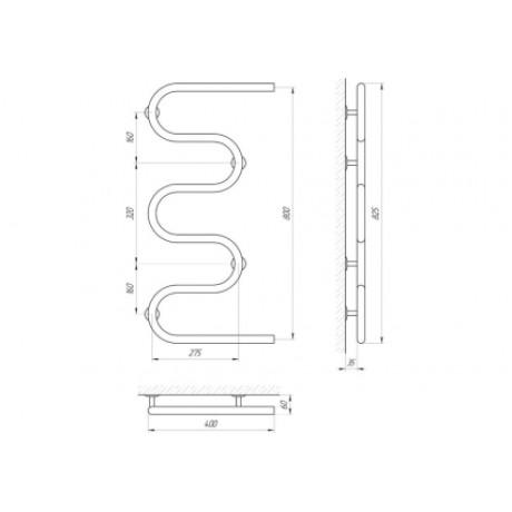 Водяной полотенцесушитель Laris Змеевик 25 РС5 400 х 800 1/2''