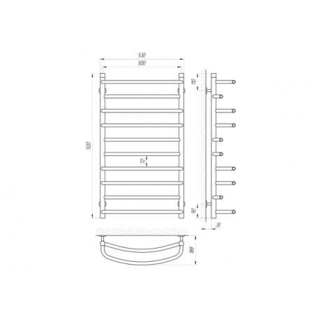 Водяной полотенцесушитель Laris Евромикс П10 500 х 900 б/в 1/2