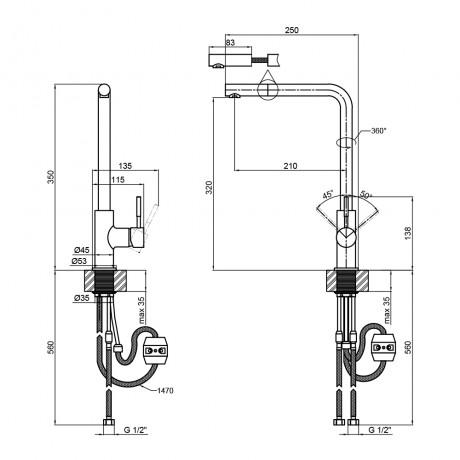 Смеситель для кухни с выдвижным изливом Lidz (NKS) 12 32 015FL-13