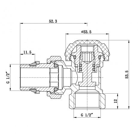"""Кран радиаторный с антипротечкой SD Forte Powerful 1/2"""" угловой"""