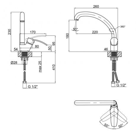 Смеситель для кухни Lidz (CRM) 41 86 008F-3