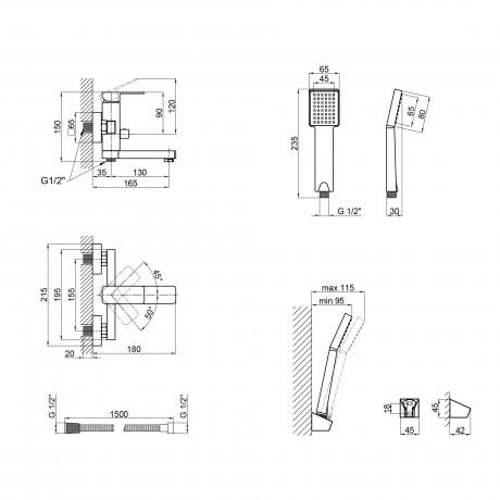 Смеситель для ванны Lidz (CRM) 21 45 006-1 New